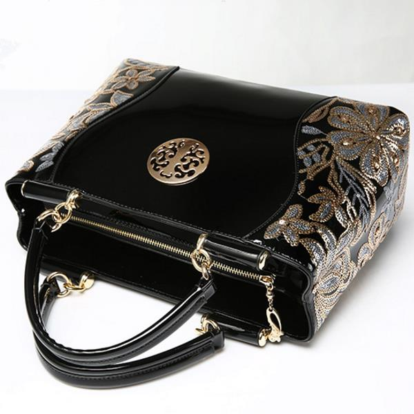 Women Patent Leather Luxury Europe Fashion Embroidery Sequined Chains Handbag
