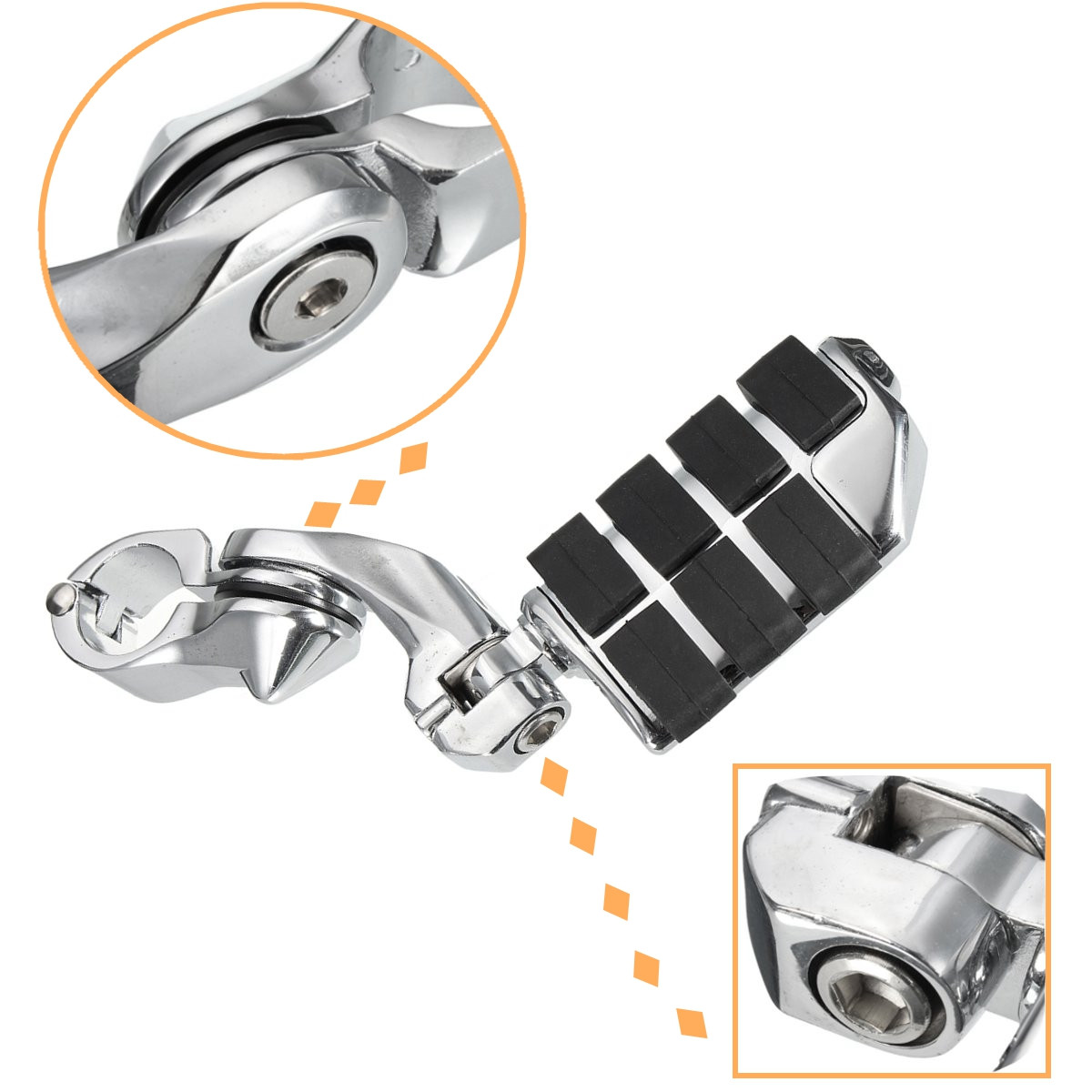 Pair Chrome Adjustable Short Angled Mount Foot Pedal Pegs For Harley
