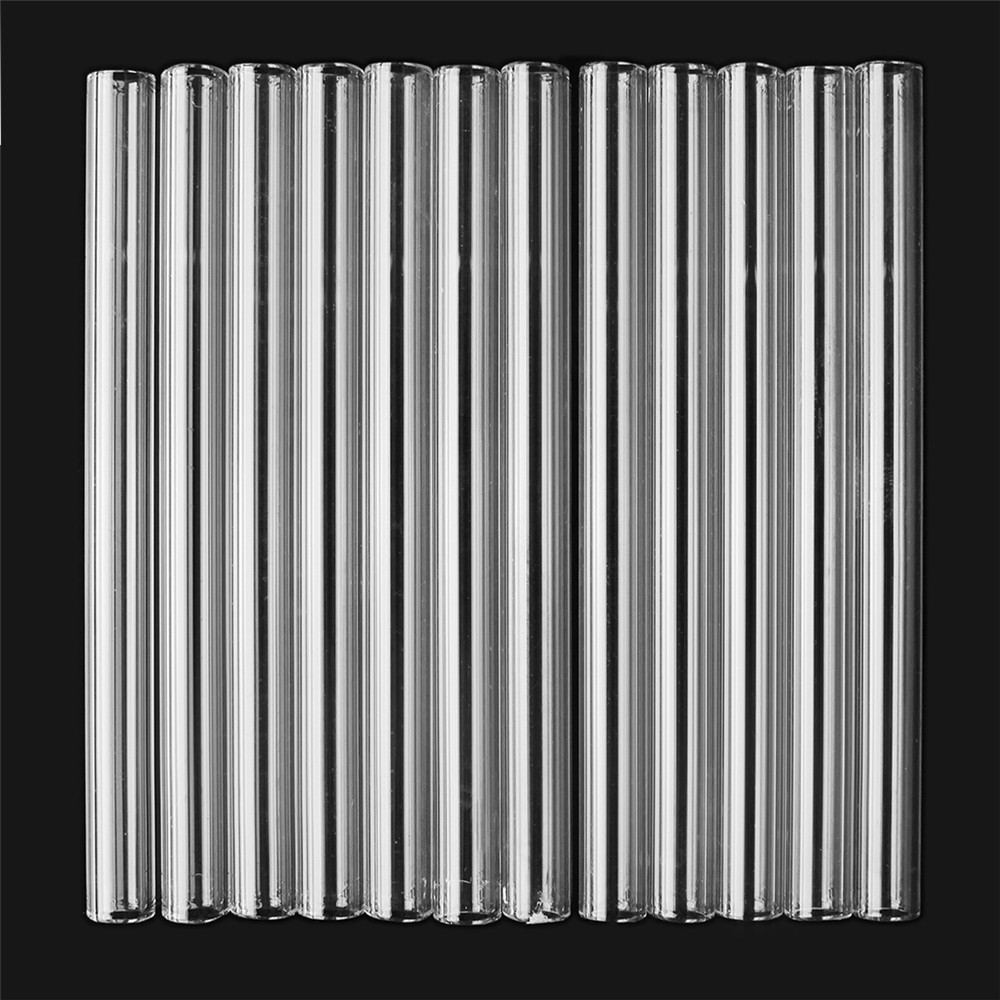 12Pcs 125mm Clear Borosilicate Glass Tube Blowing Pyrex Test Tube OD 10mm 2.2mm Thick Wall