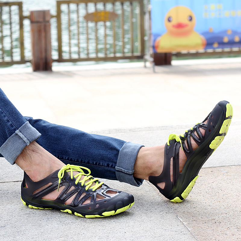Outdoor Fishing Men Hole Lace Up Sandals Beach Slipper Shoes