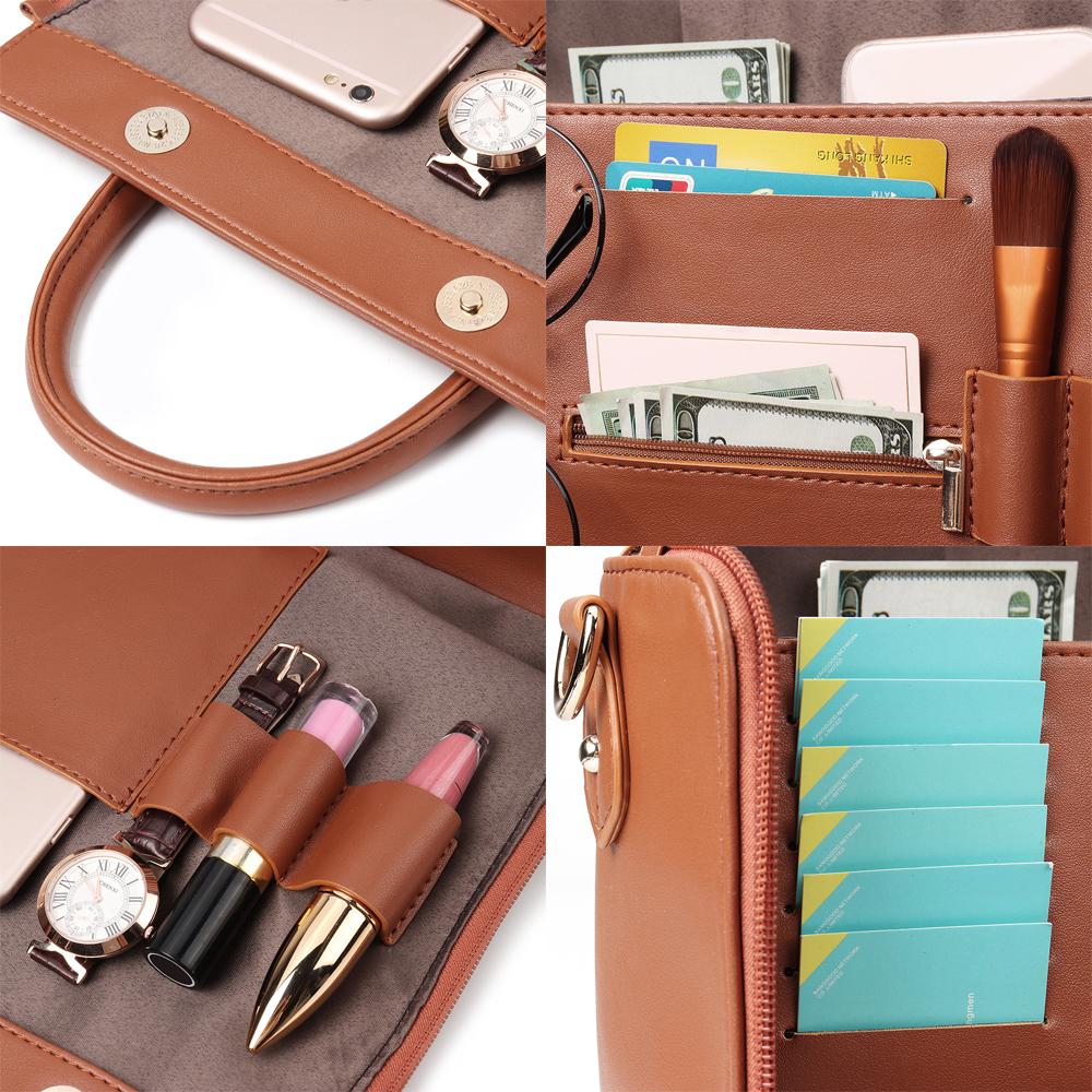 Brenice Women Solid Handbag Multi-Pocket Cosmetic Bag