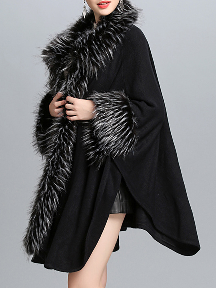 Elegant Women Faux Fur Patchwork Knitted Cloak Coat