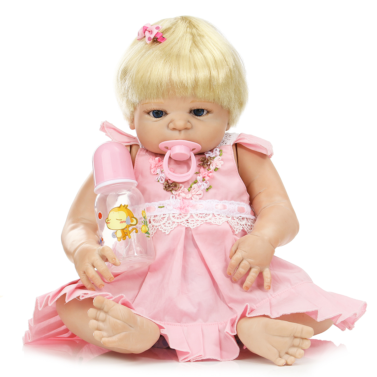 NPK 23inch Reborn Baby Doll Pink Girl Dressing Toy Gold Hair Play House Baby Dolls