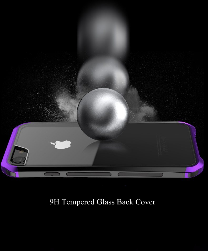 Metal Bumper+9H Tempered Glass Back Case For iPhone 7 Plus/8 Plus