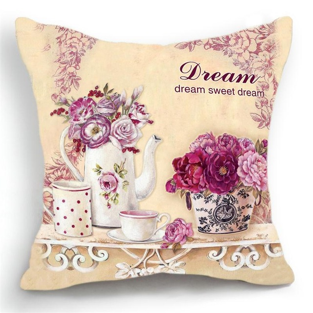 Honana 45x45cm Home Decoration Luxury Flower Vase Vintage Modern 6 Optional Patterns Cotton Linen Pillowcases Sofa Cushion Cover