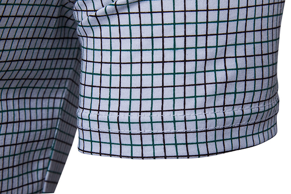 Mens Summer Plaid England Grid Short Sleeve Elastic Lapel Gingham Shirts