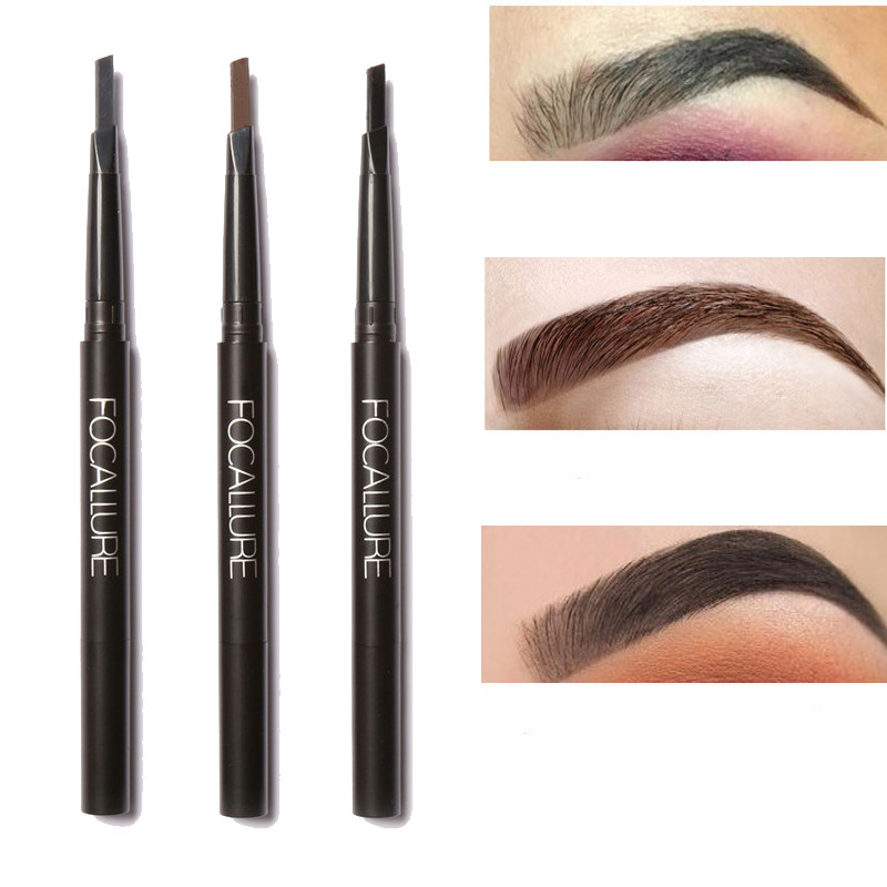 FOCALLURE Eyebrow Pencil Pen Brush Waterproof Makeup Double Automatic Rotation Black Brown Cosmetic