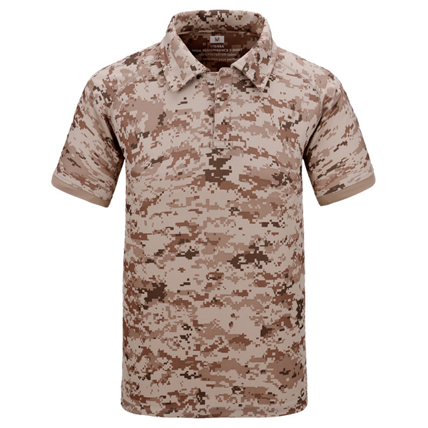 Mens Summer Outdooors Quick Drying Anti-UV Camouflage Commando Tactical Turn-down Collar T-shirt