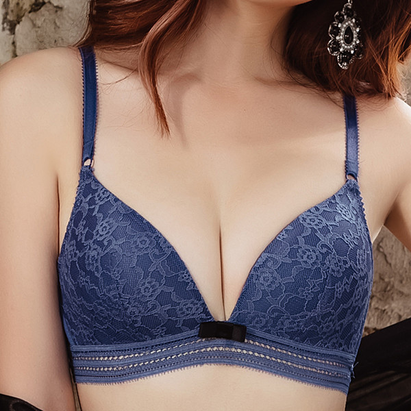 Women Sexy Lace Push Up Wireless Adjustable Straps Soft-cup Triangle Bra