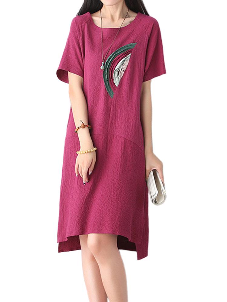 Women Casual Rainbow Patchwork Slit Loose Linen Dress