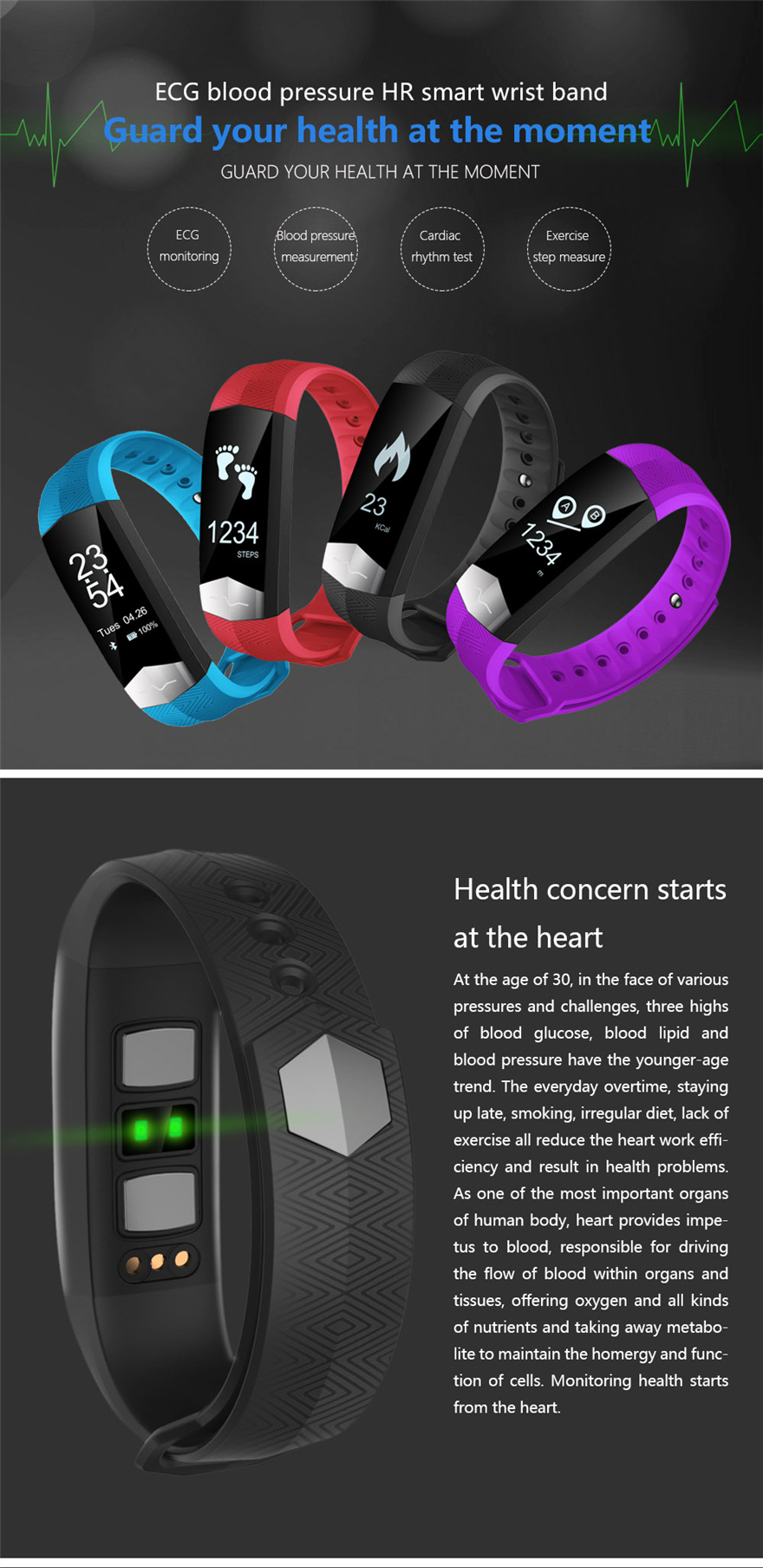 Bakeey CD01 ECG Blood Pressure Heart Rate bluetooth Smart Wristband for Mobile Phone