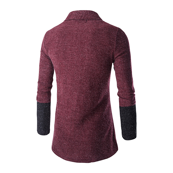 Autumm Fashion Cardigan Sweater Mens Casual Trends Knitwear Stitching Solid Color Cardigan