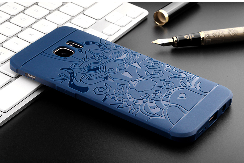 3D Dragon Pattern Fall Resistant Shockproof Silicone Cover Case for Samsung Galaxy S7 Edge