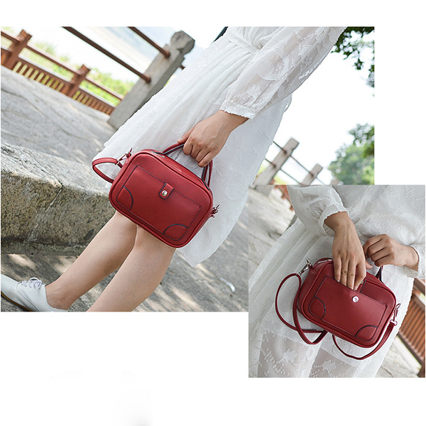 Women Faux Leather Leisure Bucket Bag Square Shoulder Bag