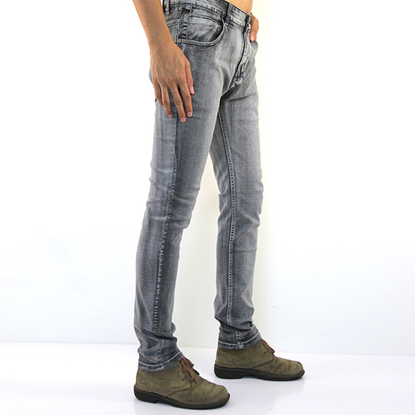 Mens Straight Legs Slim Fit Gray Elasticity Denim Pants Fashion Casual Jeans