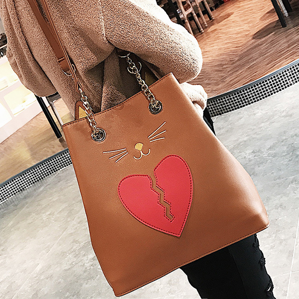 Women PU Leather Cat Shape Handbag Heartbroken Kitty Shoulder Bag