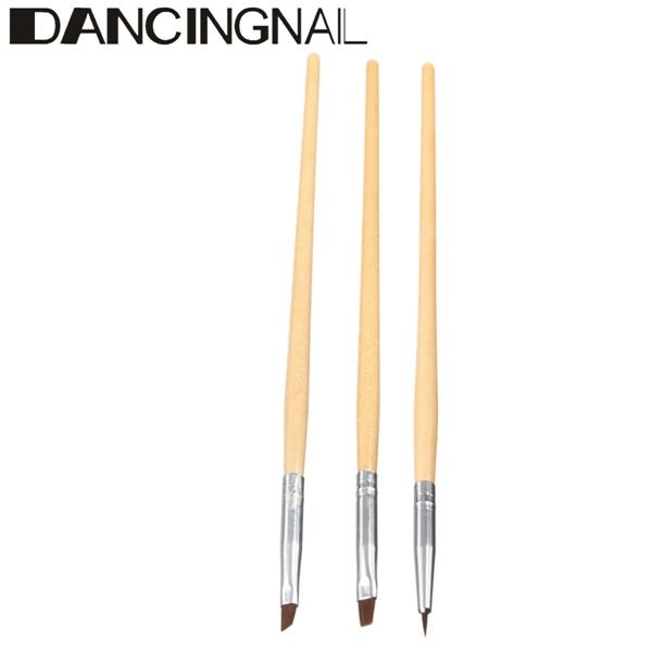 DANCINGNAIL 3pcs DIY Manicure Nail Art Painting Drawing Brushes Set Wood Handle