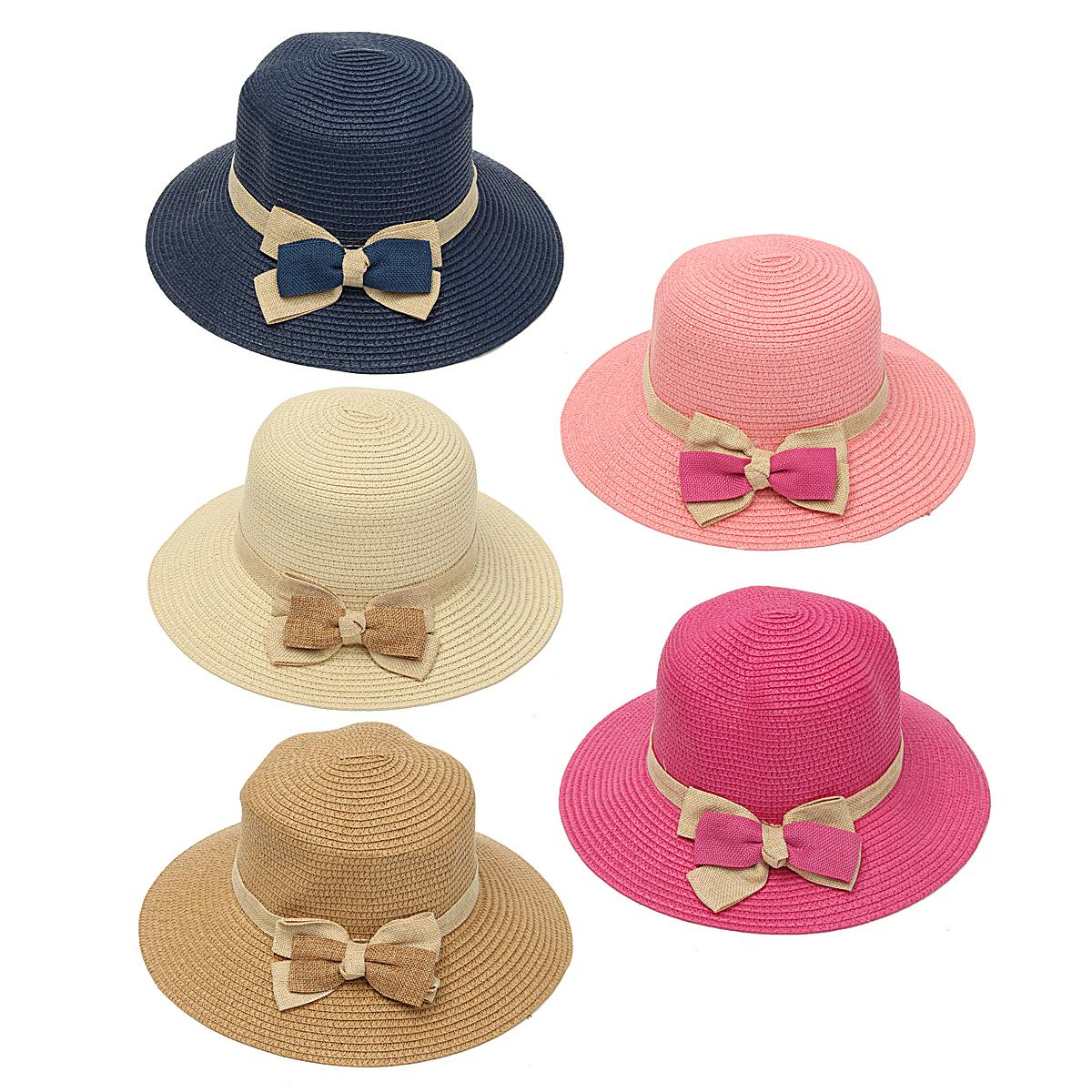 Women Ladies Straw Bowknot Fedora Derby Hat Summer Beach Sun Floppy Foldable Cap