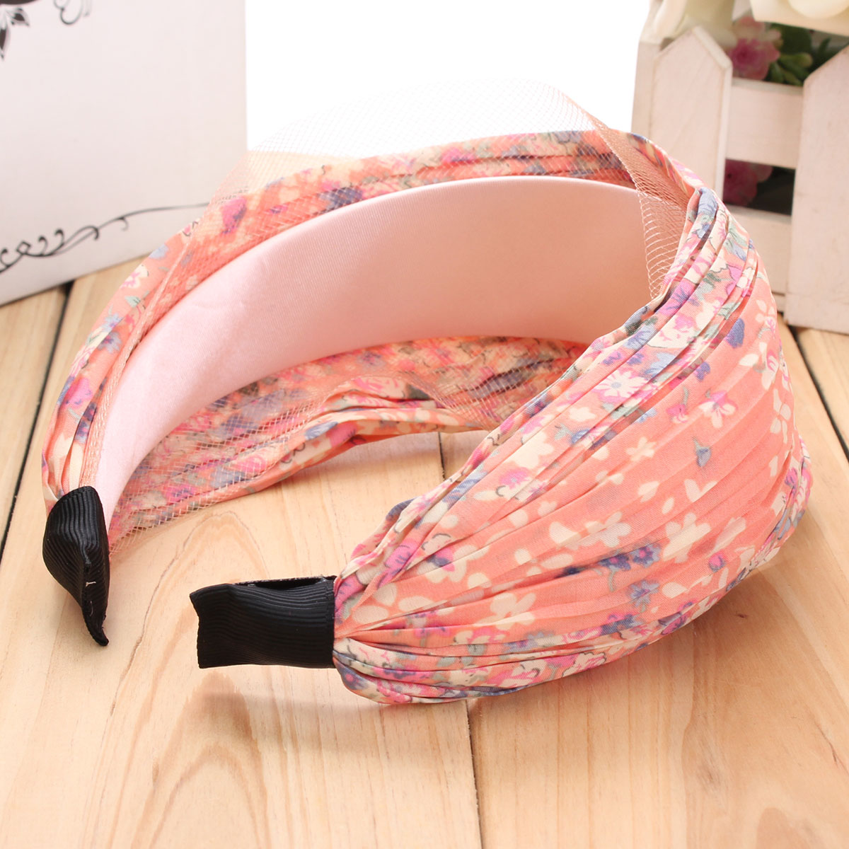Women's Retro Wide Pleated Floral Headbrand Hair Band Accessories
