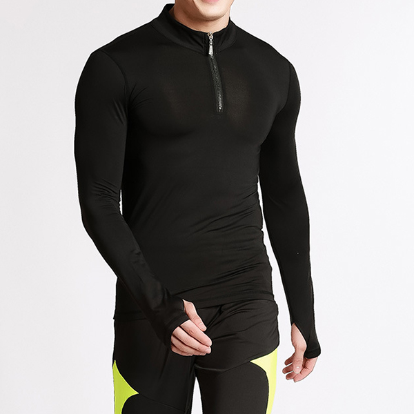 Mens Tight Elastic T-shirts Speed Dry Breathable Long Sleeved Sports Fitness T-shirts