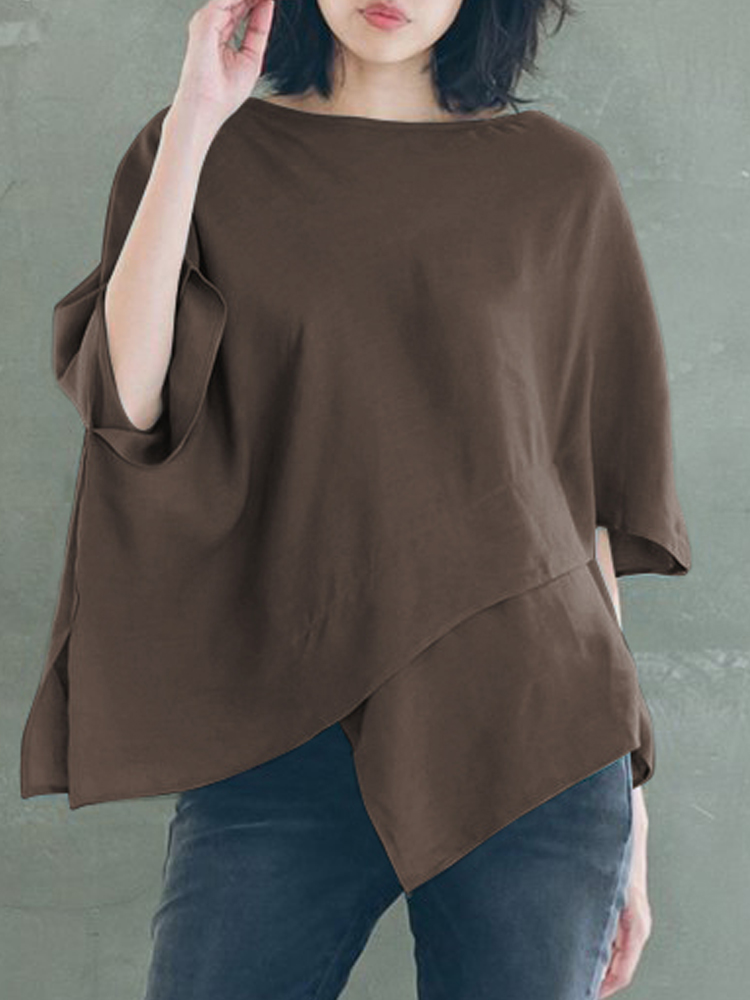 Irregular Half Sleeve Crew Neck Casual Loose Solid Color Blouse