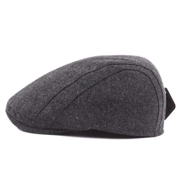 Winter Warm Wool Beret Caps Solid Casual Adjustable Cabbie Hat For Mens