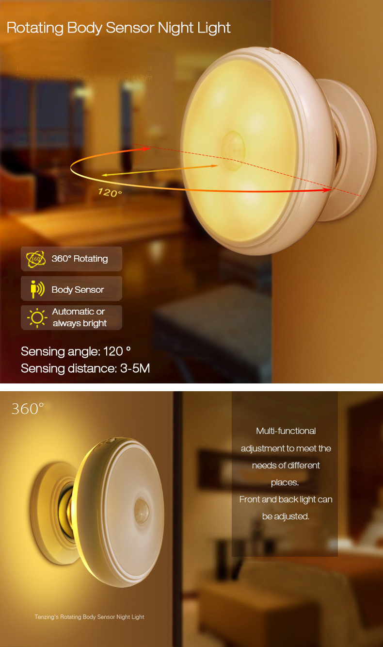 Loskii DX-004 360° Rotation Human Body Sensor LED Night Light Magnetic Holder USB Rechargeable Lamp