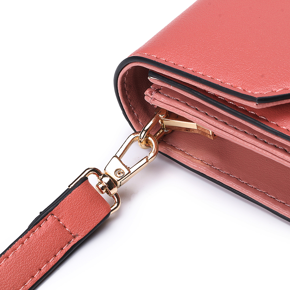 Brenice Women Solid Flap Card Bag Phone Bag Crossbody Bag