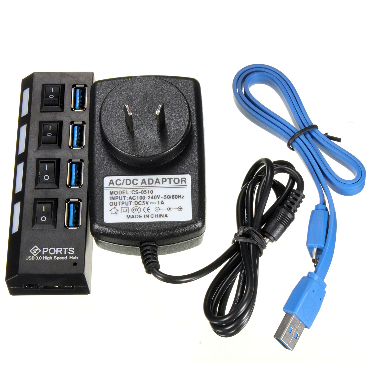 4 Ports USB 3.0 High Speed HUB Adapter with Switch Cable