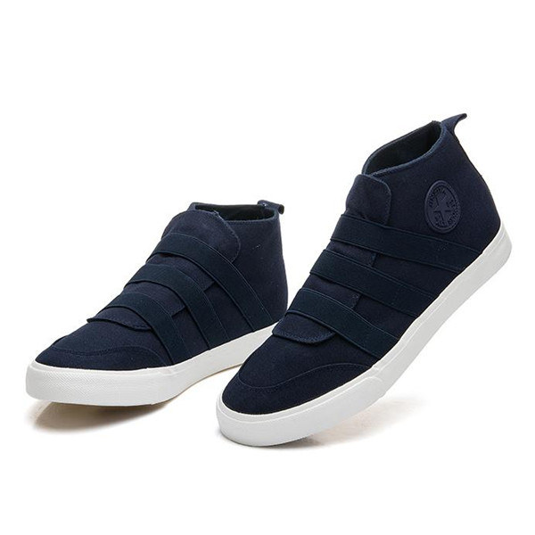 Men Casual Slip On Canvas Elastic Band High Top Sneakers