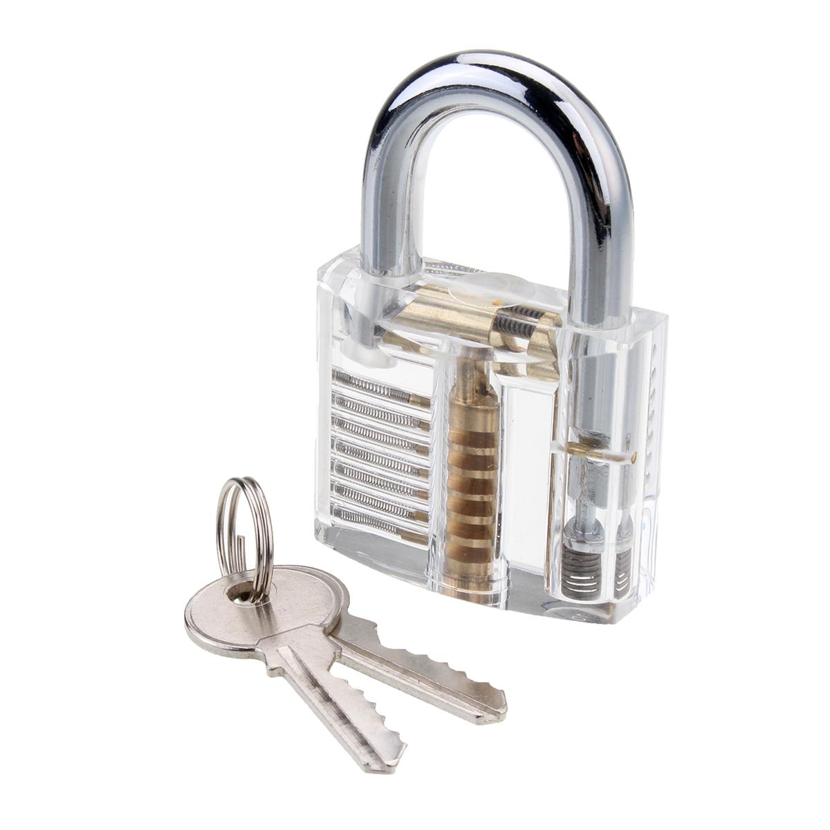 26pcs Lock Pick Training Tool W/ Clear Transparent Practice Padlock Set Locksmith