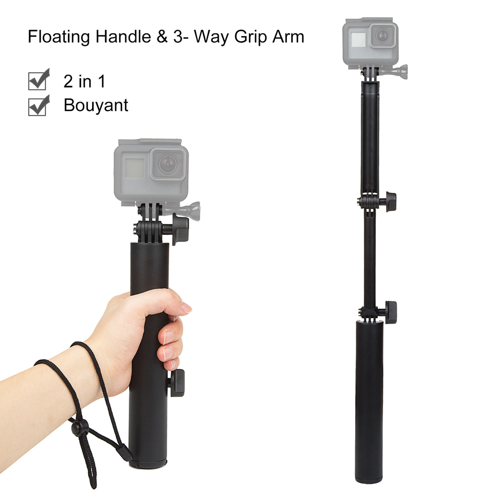 Foldable Multi-Function Floating Grip 3-Way Selfie Stick Extension Monopod for Gopro Hero 5