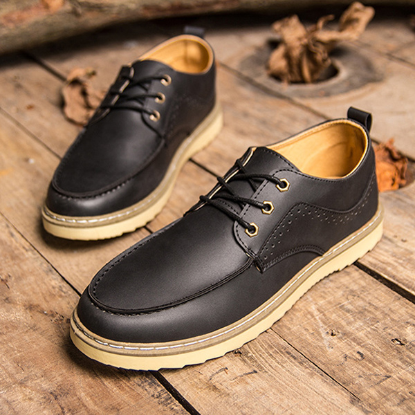 Men Leather Shoes Low Top Casual Outdoor Fashion Oxfords