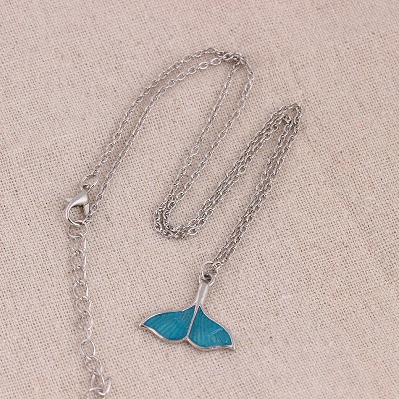 Fashion Luminous Blue Mermaid Fishtail Pendant Necklace