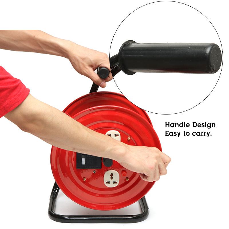 220V Multi-Outlet 3 Plug Heavy Duty Red Electrical Extension Cord Reel Storage Wind-Up Reel