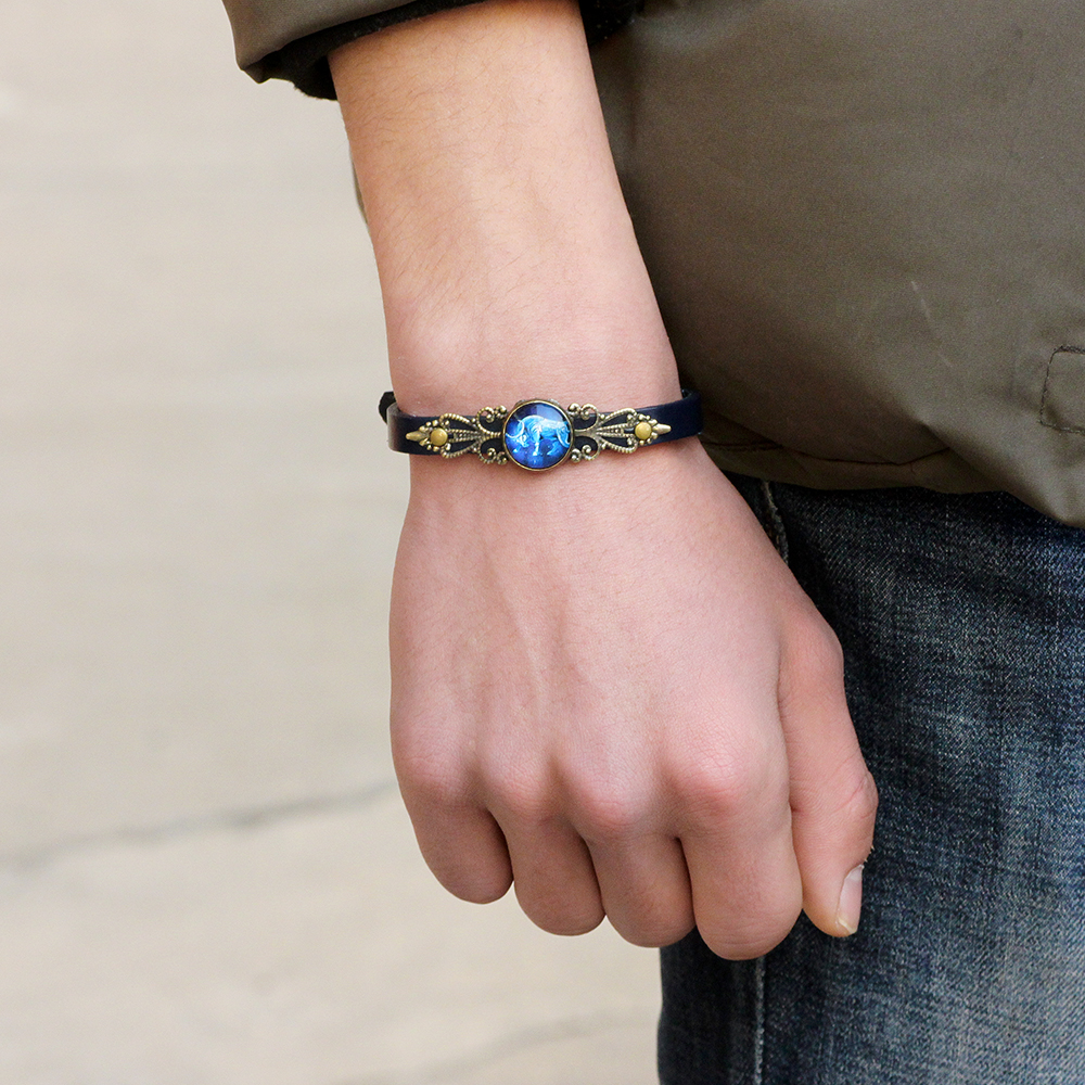 Unisex Twelve Constellations Leather Adjustable Bracelet