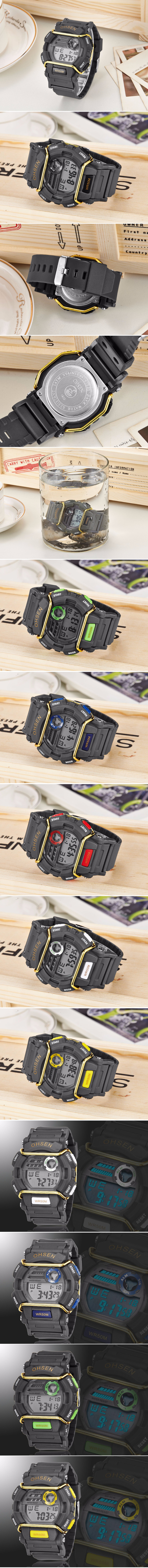 OHSEN 1602 Digital LED Alarm Waterproof Men Fashion Military Sport Wrist Watch