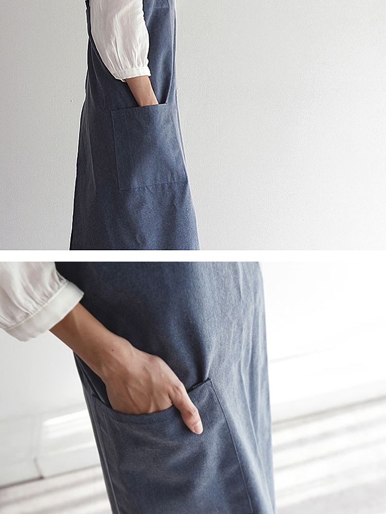 Vintage Japanese Cotton Linen Kitchen Aprons Dress