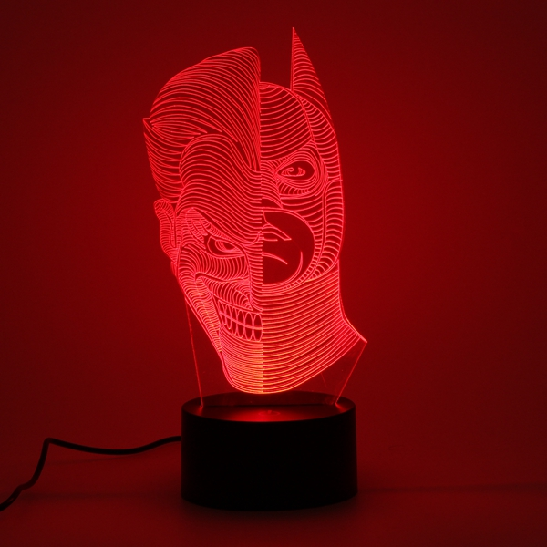 3D LED Funny Joker Illusion Desk Table Light Touch 7 Color Changing Night Lamp