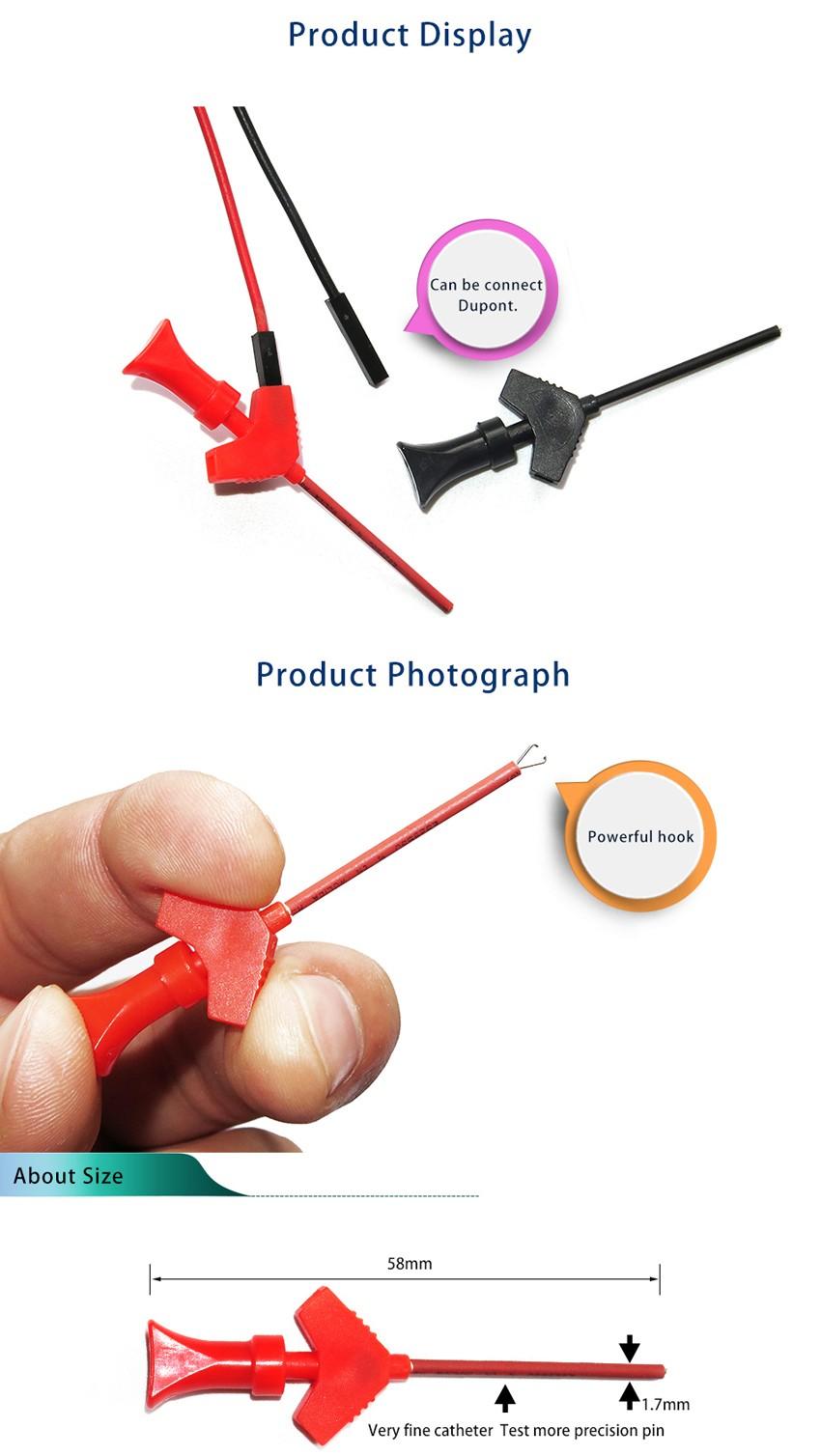 DANIU P5003 10Pcs Mini Grabber SMD IC Test Hook Clip Jumper Probe Logic Analyzer Testing Accessories