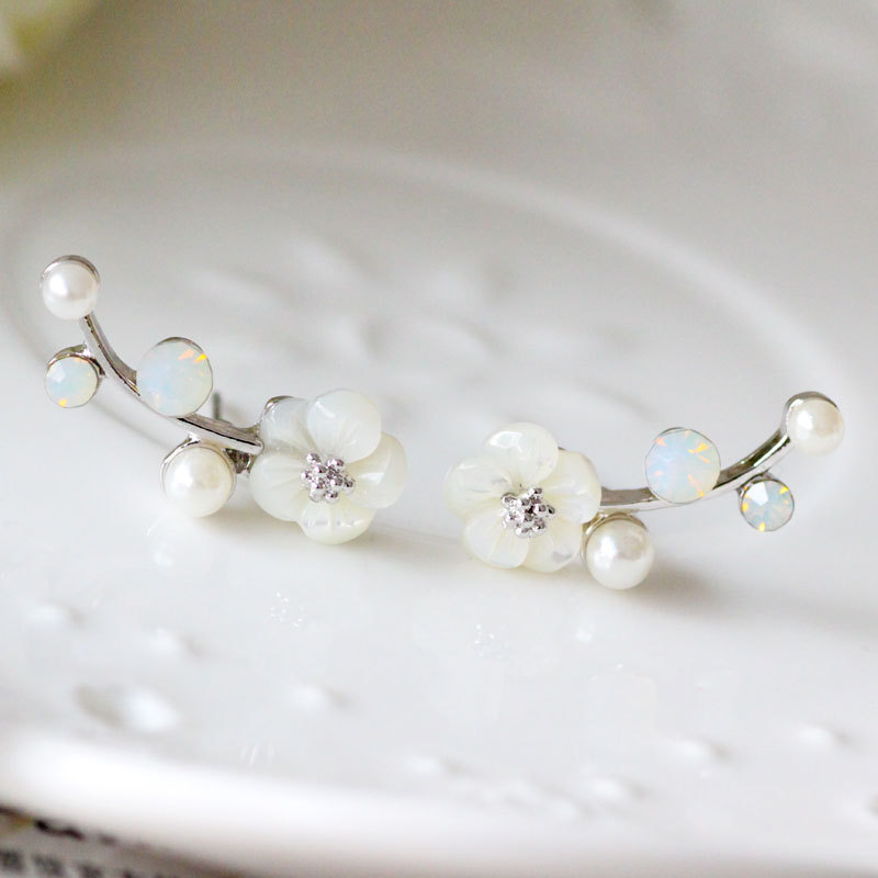 925 Silver Needle Shell Flower Crystal Rhinestone Ear Stud Earrings
