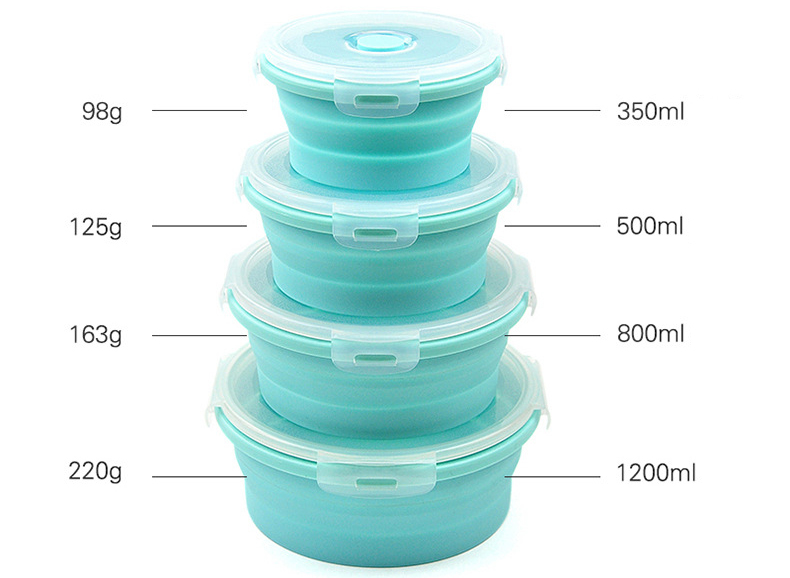 Honana Collapsible Stackable Food Storage Containers With Lids- Foldable Bowl Lunch Box Food