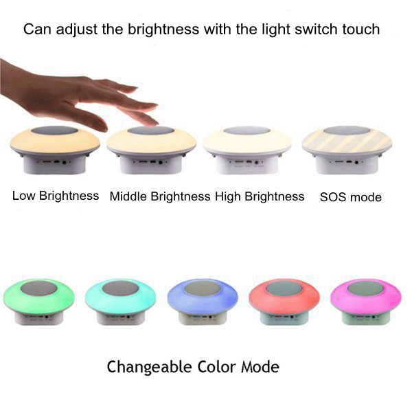 ARILUX® Portable Wireless bluetooth Speaker Audio Bedside Camping Lamp Touch Colorful Night Light