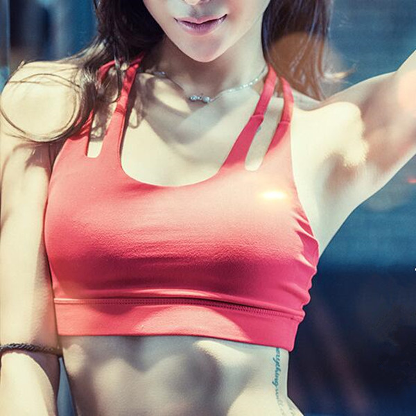 Shockproof Push Up Yoga Bra Double Strap Backless Sexy Running Sport Vest Bra Top