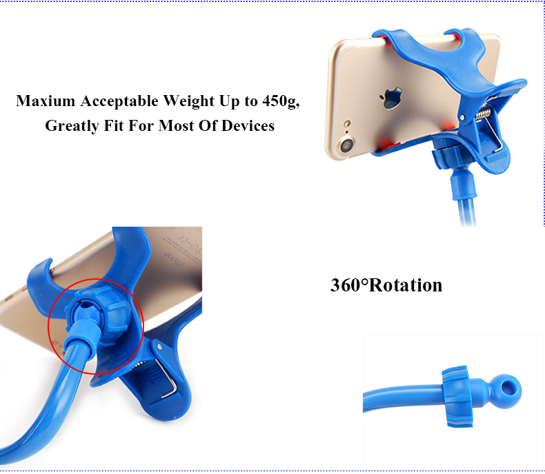 Universal Flexible Long Arm Cell Phone Clip Holder Lazy Bracket for iPhone Samsung Xiaomi Smartphone