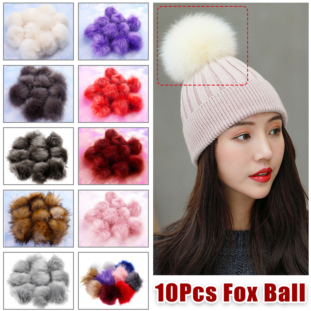 10Pcs 12cm DIY Ball Faux Fox Fur Fluff Balls Cool Colors DIY Knitted Hat Accessories
