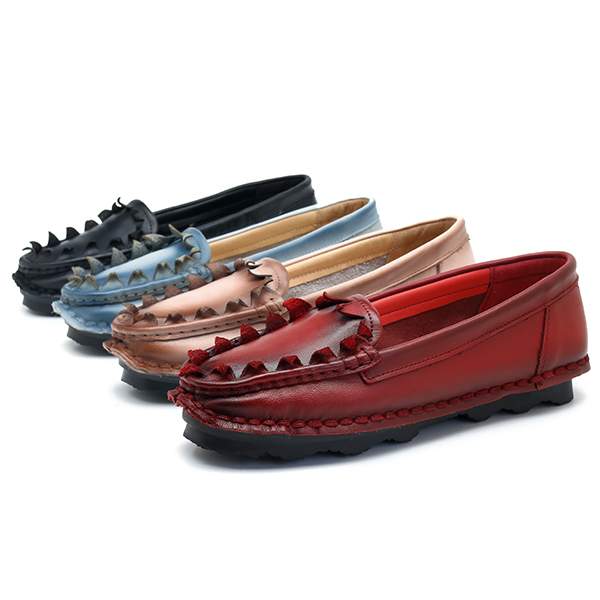 SOCOFY Handmade Flat Leather Shoes