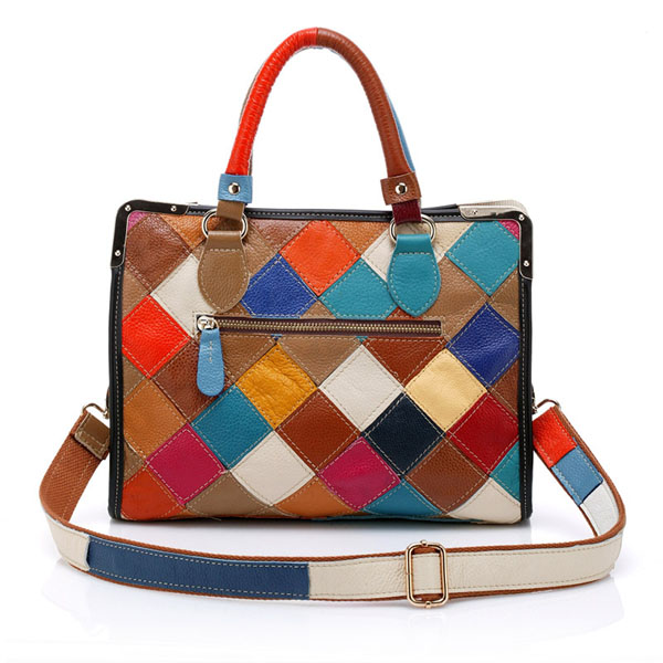 Women Patchwork Genuine Leather Colorful Tote Handbag