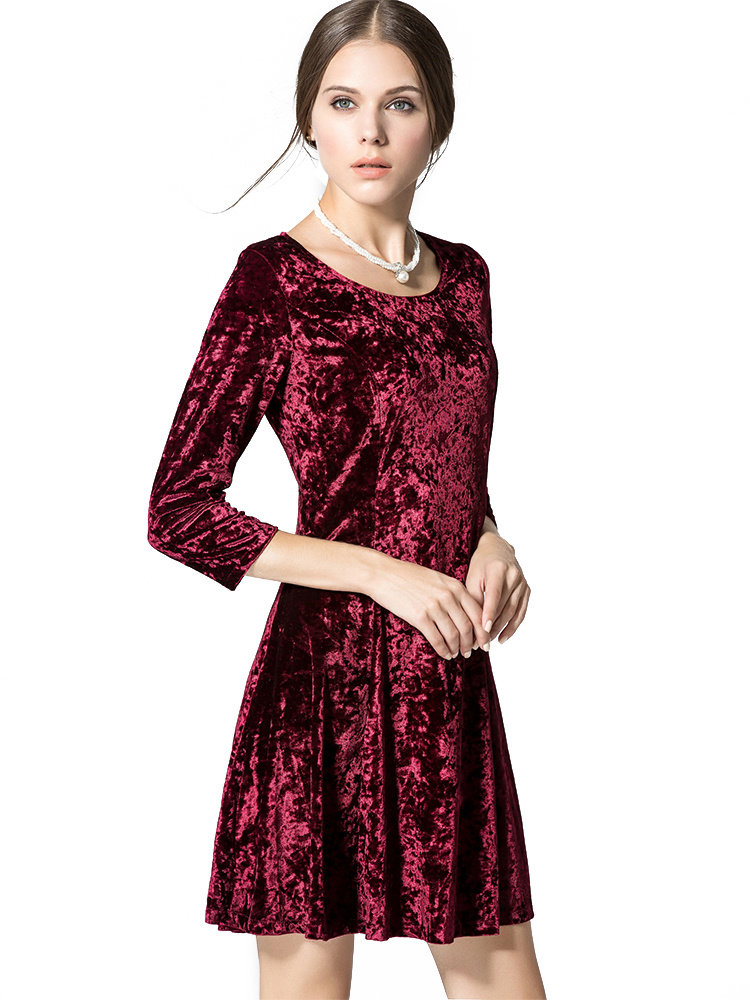 Elegant Women 3/4 Sleeve Gold Velvet Pure Color Round Neck Slim Dress