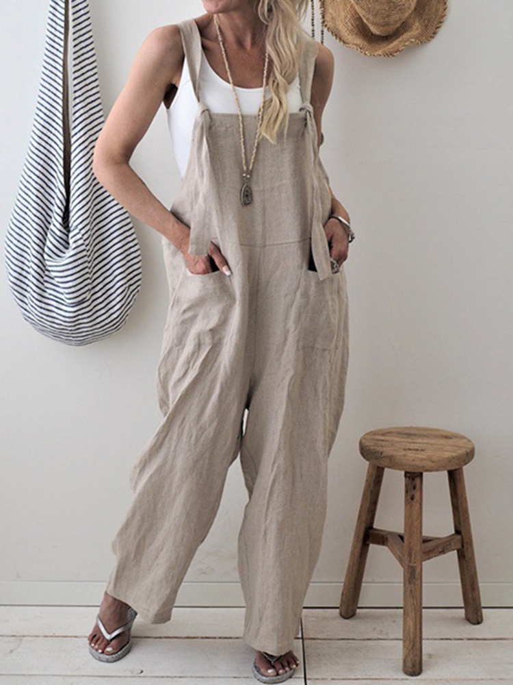 Women Casual Spaghetti Straps Loose Wide Leg Jumpsuit